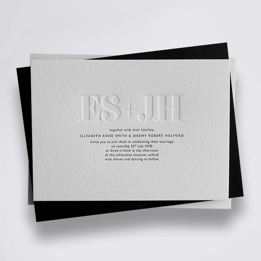 Ella blind and black Letterpress wedding invitation