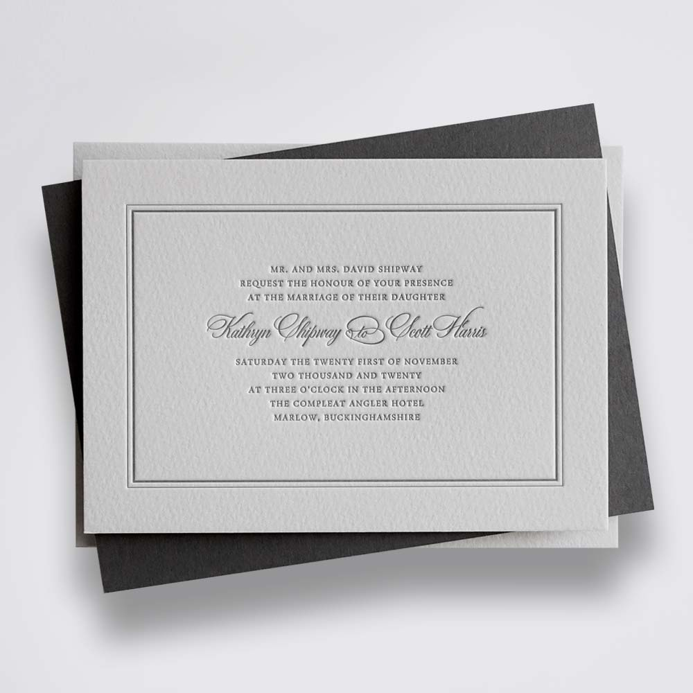 harriet - grey traditional letterpress wedding invitation with border