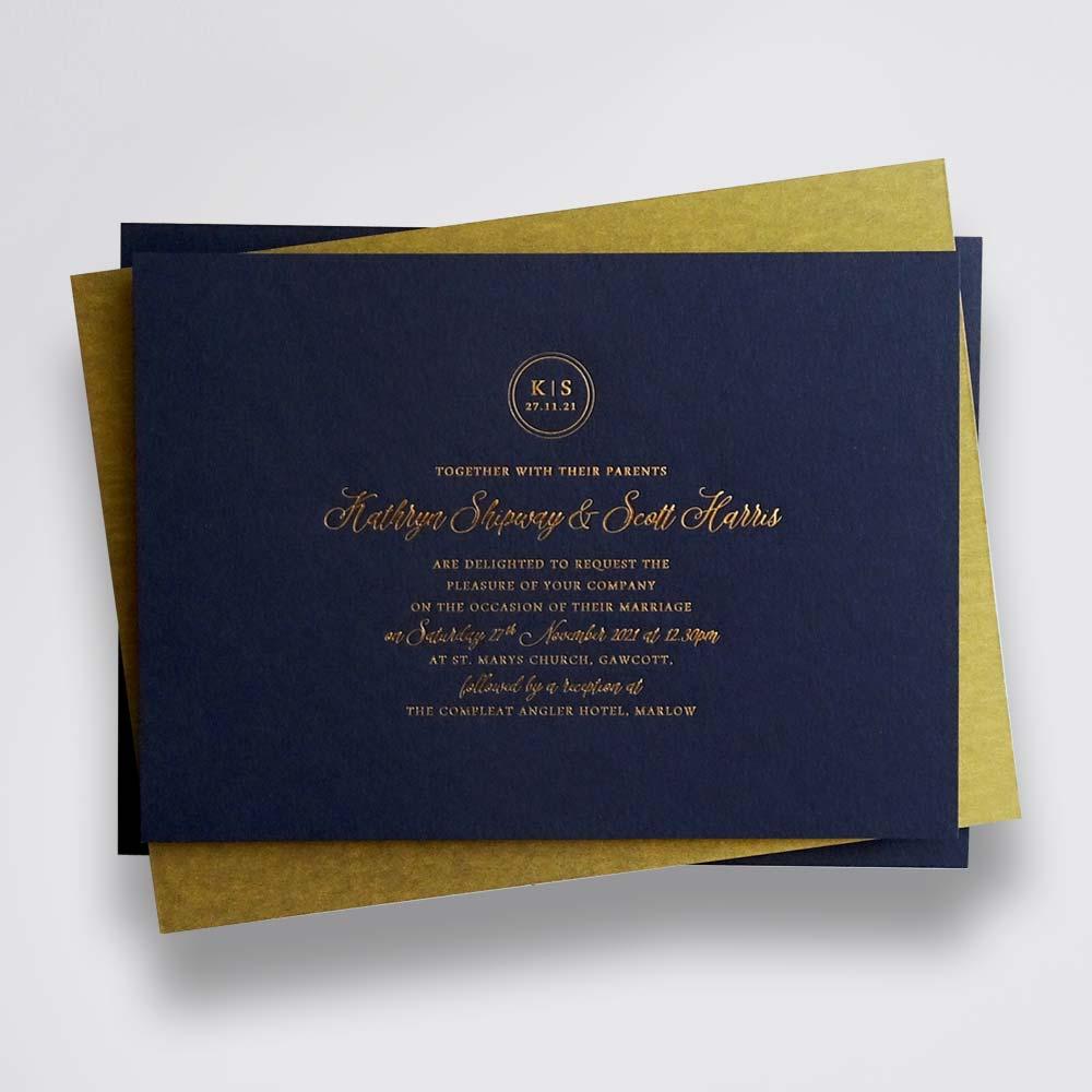 Isla - gold foil on dark blue wedding invitation