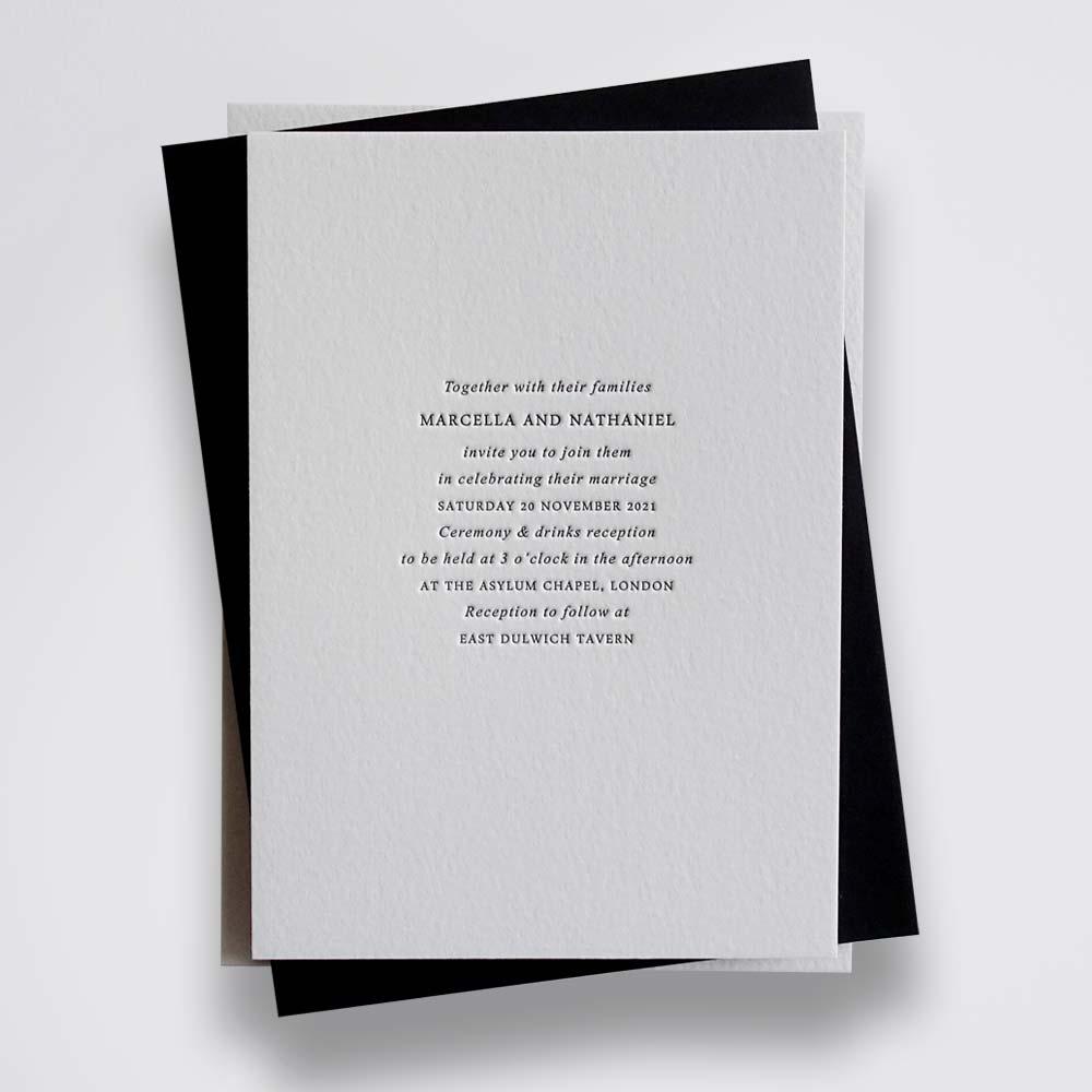 Marcella - Letterpress wedding invitation