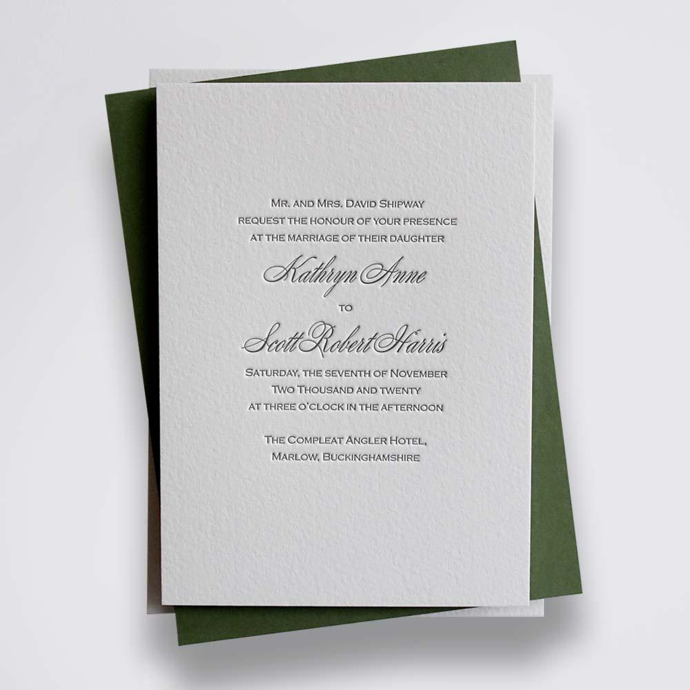 rosie - black traditional letterpress wedding invitation